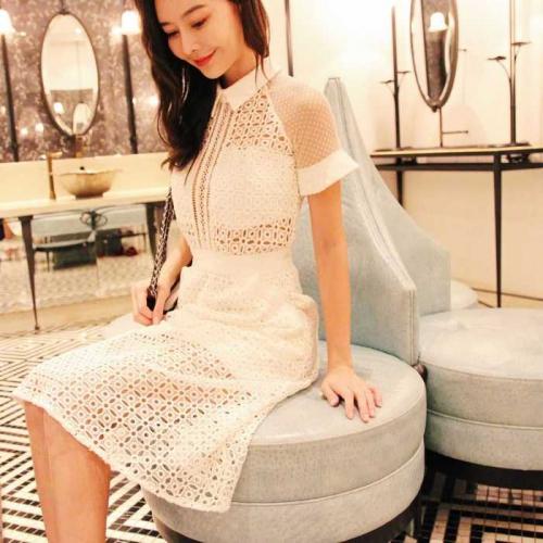 白色網袖蕾絲透視短洋裝
